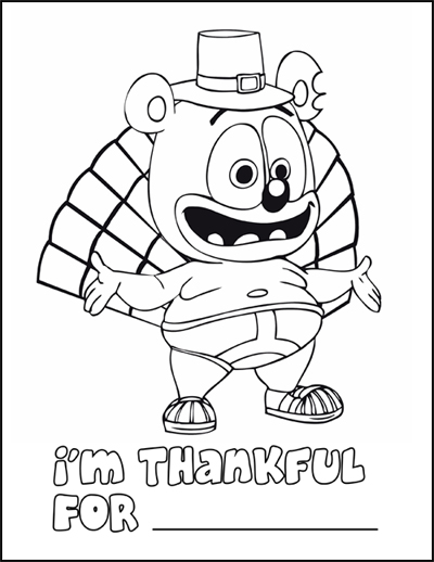 Gummibär Thanksgiving Coloring Page