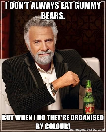 i don't always eat gummy bears meme