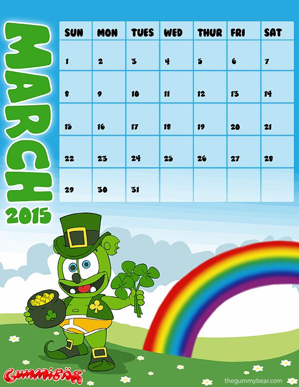 gummibar calendar march 2015