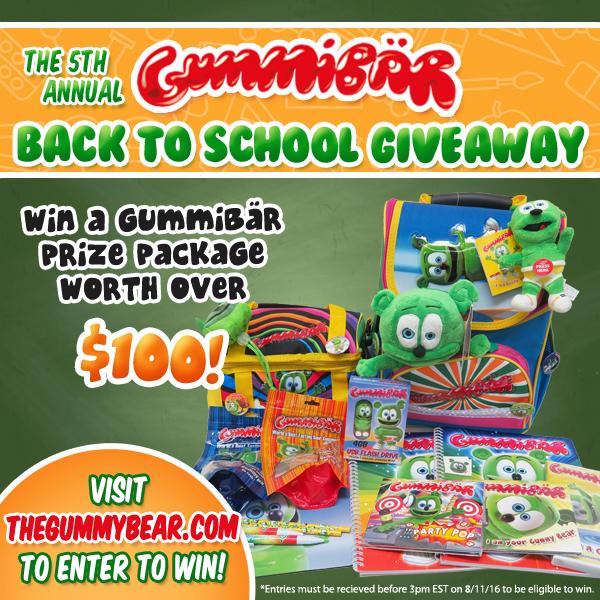 back to school giveaway free stuff sweepstakes kids childrens school supplies gummy bear gummibar im a gummy bear