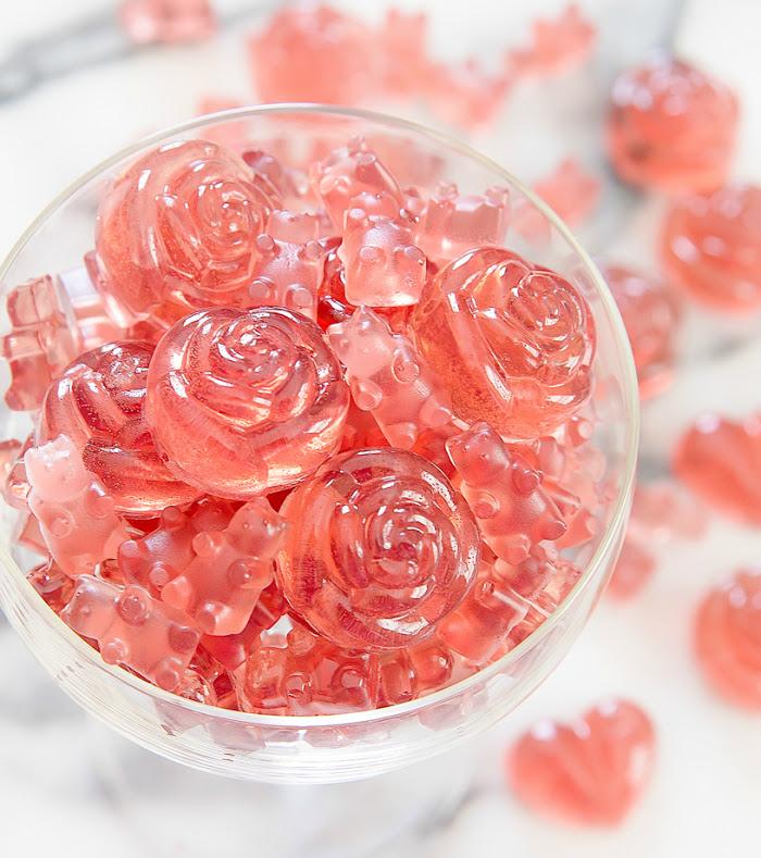 rose champagne pink gummy bears gummy bear candy gummibar song gummybear recipe homemade DIY candy candies