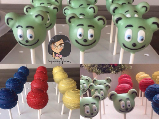 kids birthday party ideas cake pops gummy bear childrens animated cartoon character i am a gummy bear song gummibar cartoon show web series youtube youtuber birthday cake pops