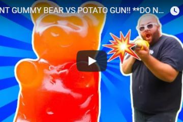 giant gummy bear vs versus potato gun youtube youtuber the i am a gummy bear song gummibar gummybear international ima gummi bear