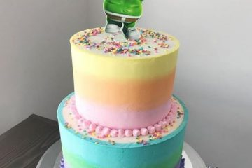 rainbow ombre gummibar cake