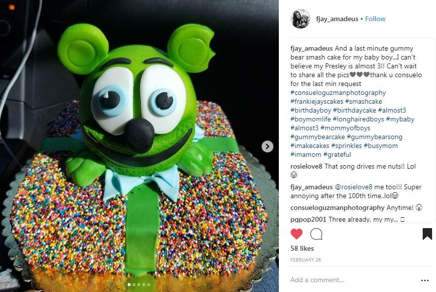 rainbow sprinkle gummy bar cake
