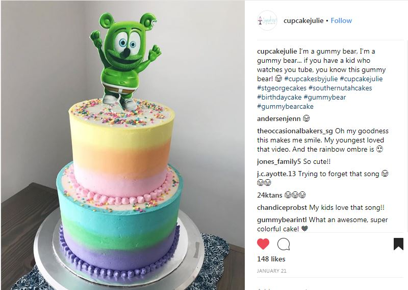 rainbow gummibar cake